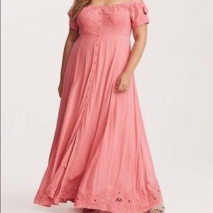 •torrid• Embroidered Off the Shoulder Maxi Dress